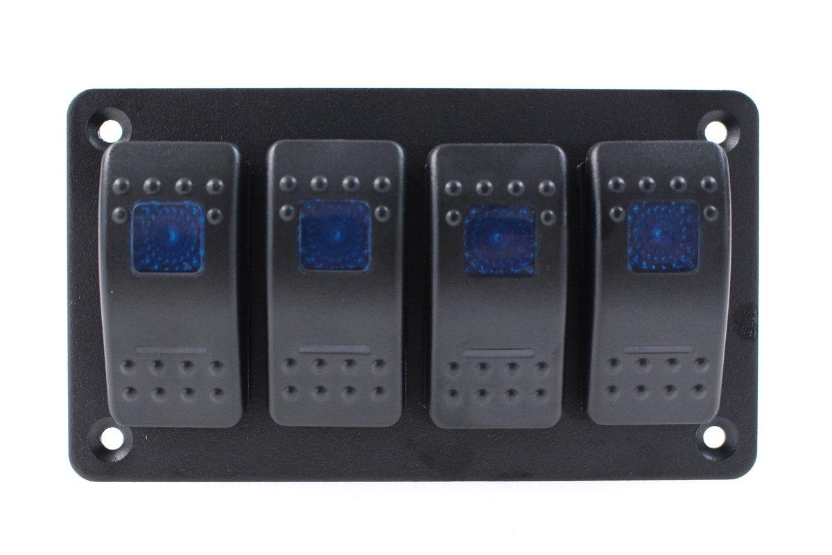 Włącznik panel Alu, ON/OFFx4 Blue - GRUBYGARAGE - Sklep Tuningowy